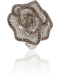 Suzy Levian - Sterling Silver Brown And White Cubic Zirconia Pave Flower Ring - Lyst