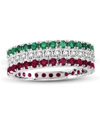 Suzy Levian - 14k White Gold Diamond Ruby Emerald Eternity Band Ring (set Of 3) - Lyst