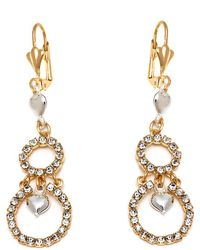 Peermont | Gold And Silver Crystal Heart And Double Circle Earrings | Lyst