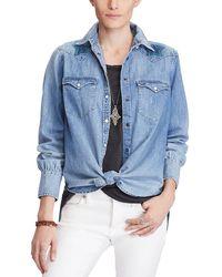 Denim & Supply Ralph Lauren - Star Embroidered Cotton Chambray Shirt - Lyst