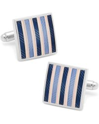 Ox and Bull Trading Co. - Pink And Navy Striped Square Cufflinks - Lyst