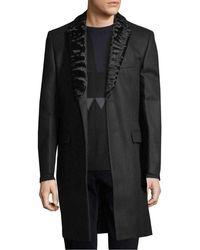 Fendi - Solid Wool Coat With Mink Trim - Lyst