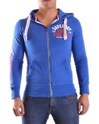 Superdry | Men's Blue Cotton Sweatshirt | Lyst