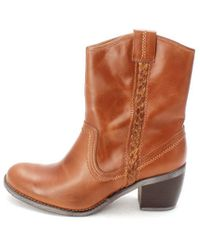 Hush Puppies - Womens Rustic West Leather Round Toe Ankle Cowboy Boots - Lyst