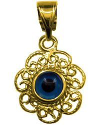 Jewelry Affairs - Filigree Double Sided Evil Eye Pendant In Sterling Silver -18 Karat Gold Overlay - Lyst