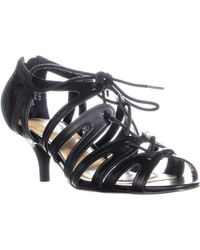 Tahari - Dara Kitten Lace Up Heels, Black - Lyst