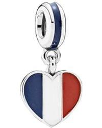 PANDORA - Silver Enamel France Heart Flag Charm - Lyst