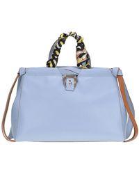 Paula Cademartori - Women's Mcglbre000004031i Light Blue Leather Shoulder Bag - Lyst
