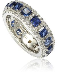 Suzy Levian - Sterling Silver Sapphire And Diamond Modern Eternity Band - Lyst