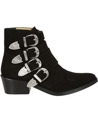 Toga Pulla | Black Suede Western Buckle Boots | Lyst
