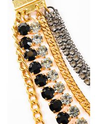 Marni - Nwt Gold Tone Black Crystal Layered Multi Strand Chain Necklace - Lyst