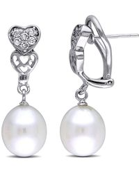 Catherine Malandrino - Freshwater Cultured Pearl And Cz Heart Earrings In Sterling Silver - Lyst