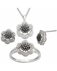 Tia Collections - .925 Flower Set In Black Diamond Illusion Look 0.04ctw - Lyst