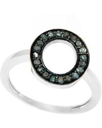 Barzel - Sterling Silver 0.16cttw Genuine Open Round Blue Diamond Ring - Lyst