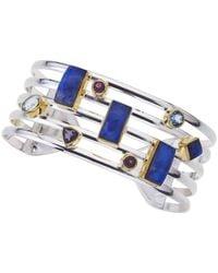 Jewelista - Silver Cuff Bracelet With Colored Gemstones - Lyst