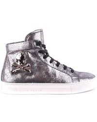 Philippe Model - Women's Silver Leather Hi Top Sneakers - Lyst