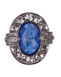 Roberto Cavalli - Silver Swarovski Blue Stone Embellished Rings - Lyst