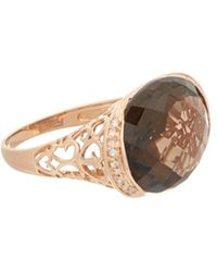 Effy - Fine Jewelry 14k Rose Gold 11.99 Ct. Tw. Diamond & Smoky Quartz Ring - Lyst