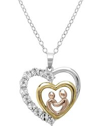 Amanda Rose Collection - Tri Colored Sterling Silver And Diamond Mother And Child Heart Pendant - Lyst