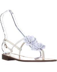 Callisto - Poli T-strap Flower Sandals, White - Lyst