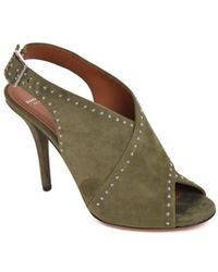Givenchy - Khaki Green Suede Studded Crossover Sandals - Lyst