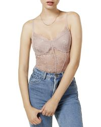 Guess - Womens Lace Bustier Bodysuit - Lyst
