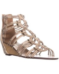 Report - Maple Wedge Zip Up Sandals, Gold - Lyst