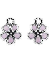 PANDORA - Cherry Blossom Silver Enamel Earring Charms - Lyst
