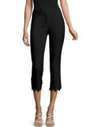 Adrianna Papell - Slim Cropped Pant With Lace Trim - Lyst
