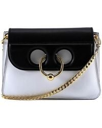JW Anderson - Women's White/black Leather Shoulder Bag - Lyst