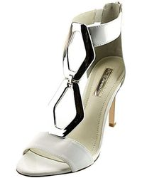 BCBGMAXAZRIA - Eneration Cayce Women Open Toe Patent Leather White Sandals - Lyst