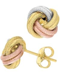 Jewelry Affairs - 14k Tricolor Textured And Shiny Love Knot Stud Earrings, 10mm - Lyst