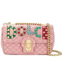 6f129bfaa4 Dolce   Gabbana - Dolce E Gabbana Women s Pink Leather Shoulder Bag - Lyst