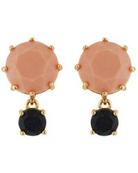 Les Nereides - Special La Diamantine Pink And Glittered Black Stones Earrings - Lyst