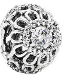 PANDORA - Floral Brilliance Silver Cz Charm - Lyst