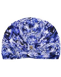 Roberto Cavalli - Blue Floral Print Ruched Silk Blend Jersey Turban - Lyst