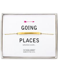 Dogeared - 14k Over Silver Going Places Thin Bar Id Bracelet - Lyst