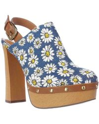 Report - Mylie Toe Back Strap Mules - Blue - Lyst