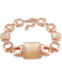 Catherine Malandrino - Simulated Champagne Cat Eye Square Link Bracelet - Lyst