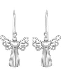 Jewelry Affairs - Sterling Silver Plated Open Wing Angel With Heart Dangle Earrings - Lyst