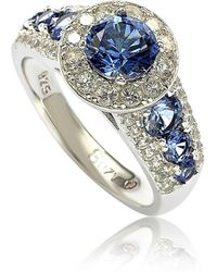 Suzy Levian - Sterling Silver 3.61ct Tgw Sapphire And Diamond Bridal Engagement Ring - Lyst