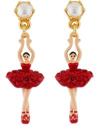 Les Nereides - Mini Luxury Pas De Deux Mini Ballerina With Red Crystals Earrings - Lyst