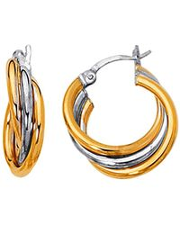 Jewelry Affairs - 14k Yellow And White Gold Two Tone Triple Row Hoop Earrings, Diameter 20mm - Lyst