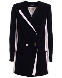 Elisabetta Franchi - Women's Black Polyester Coat - Lyst