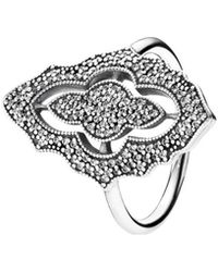 PANDORA - Silver Cz Sparkling Lace Ring - Lyst