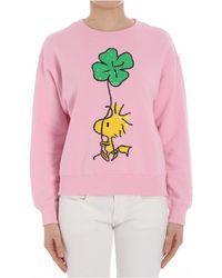 Essentiel - Women's Pink Cotton Sweatshirt - Lyst