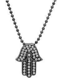 Amanda Rose Collection - Sterling Silver Hamsa Pendant-necklace Made With Swarovski Crystals - Lyst
