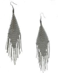 Roberto Cavalli - Silver Metal Tassel And Chain Chandelier Earrings - Lyst