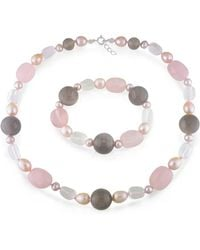 Catherine Malandrino - Freshwater Cultured Pearl, Quartz And Grey Agate Strand And Stretch Bracelet - Lyst