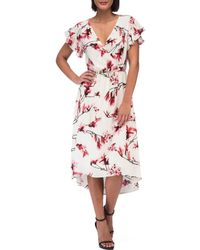 Bobeau - Lee Midi Frill Sleeve Dress - Lyst